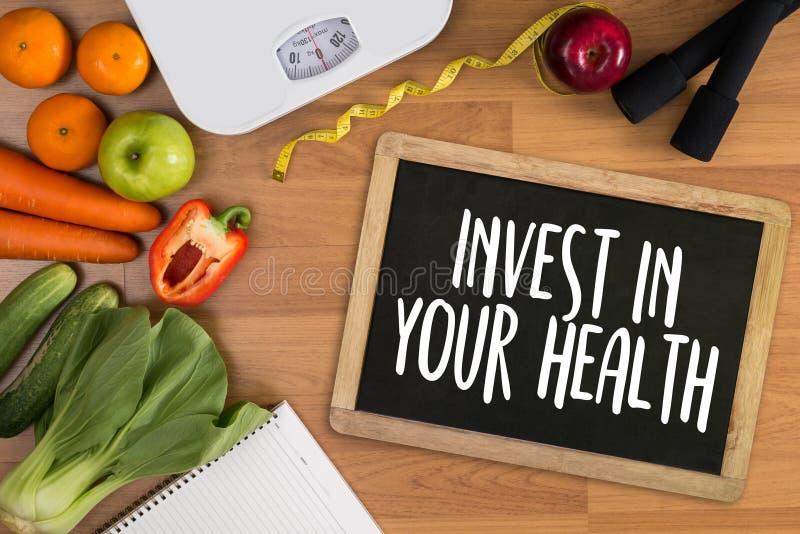 投资在您的健康,与饮食的健康生活方式概念和 库存照片