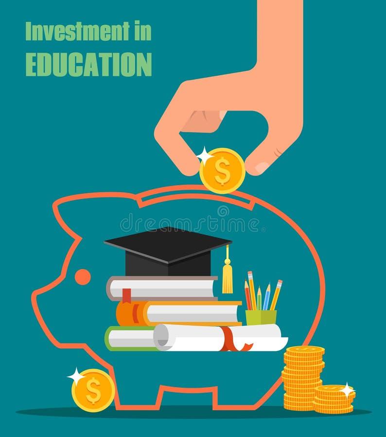 投资在教育传染媒介概念 书查出的系列栈 向量例证