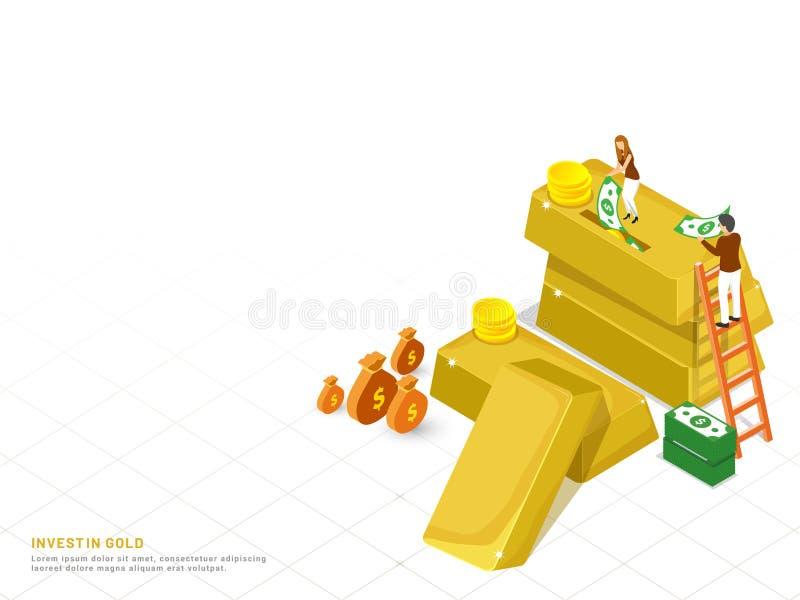 投资在金概念基于登陆的页设计,等量金子 库存例证