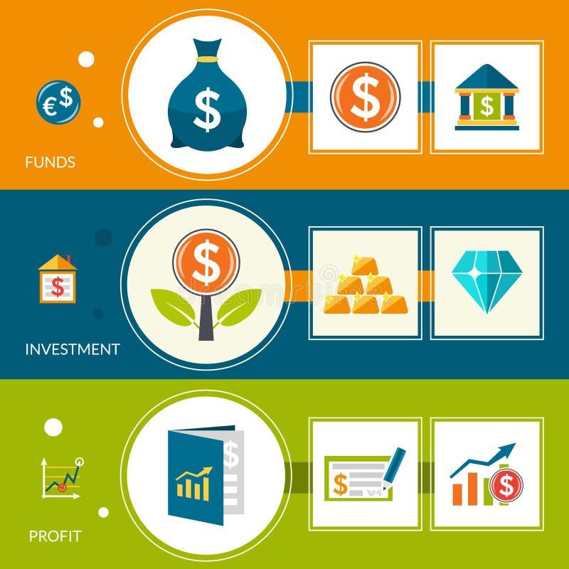 投资基金赢利水平的横幅 向量例证
