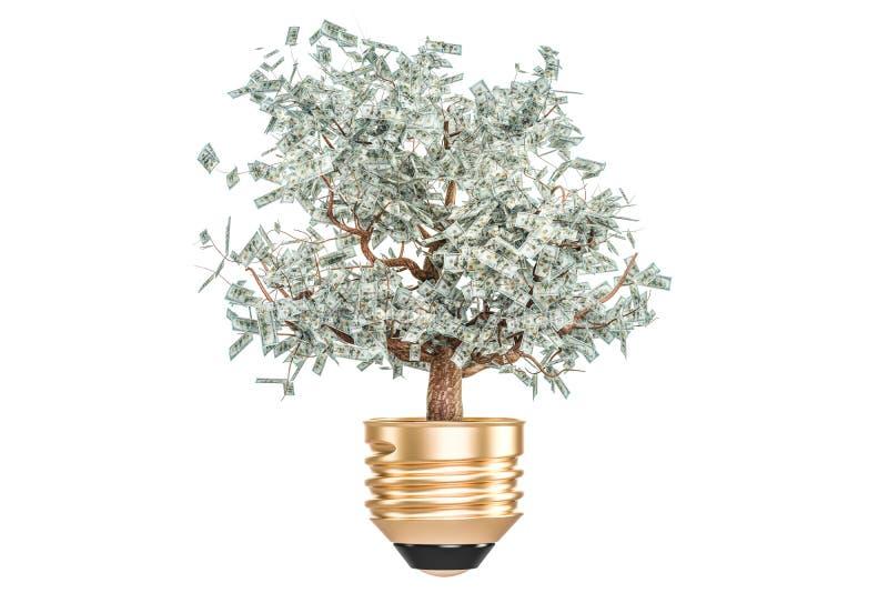 投资或节能概念 有金钱树的电灯泡 皇族释放例证