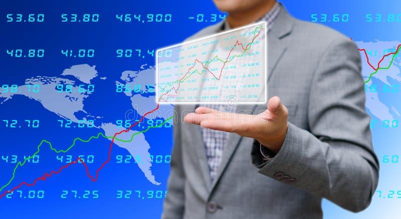 投资者分享分析证券交易所数据 免版税图库摄影
