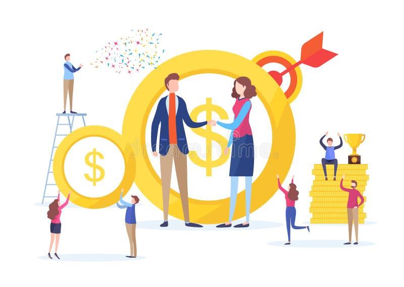 投资者手震动  企业财政概念 成交,协议,成功, 平的动画片缩样例证 皇族释放例证