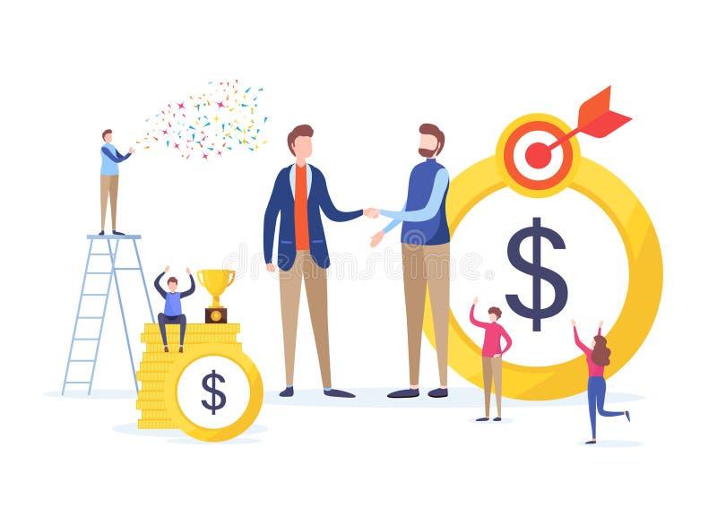 投资者手震动  企业财政概念 成交,协议,成功 平的动画片缩样例证 库存例证