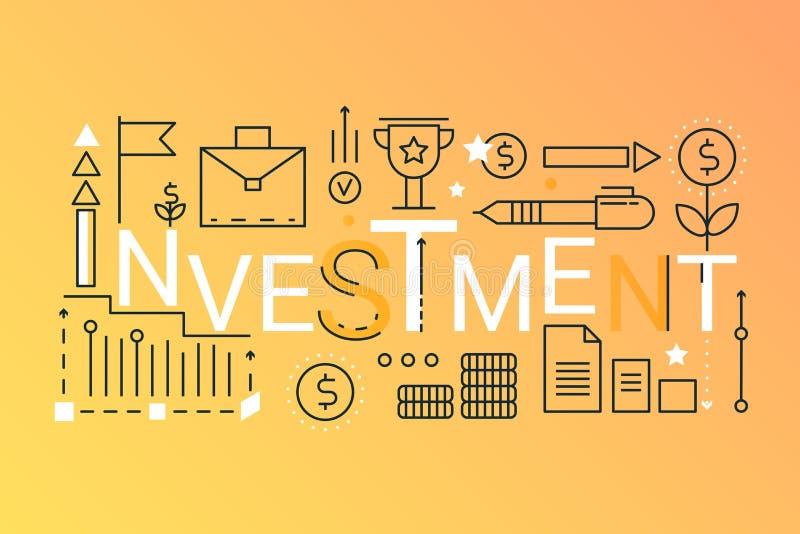 投资词时髦构成概念横幅 概述冲程事务,财务,战略管理,咨询 库存例证