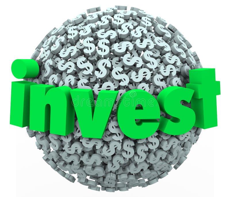 投资词美元的符号球形股市债券401K储款 皇族释放例证