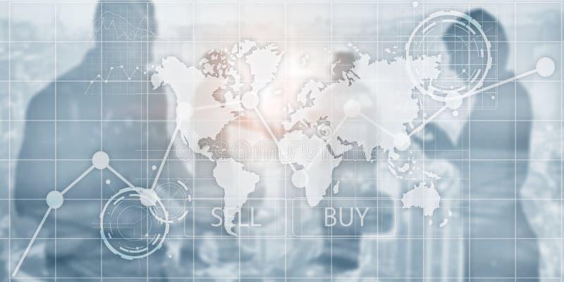 投资财政图图表 智力仪表板卖和买 免版税库存照片