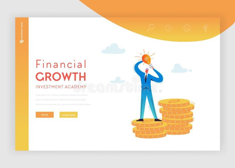 投资财政成长着陆页模板 与金钱和想法电灯泡的平的商人字符网站的 皇族释放例证
