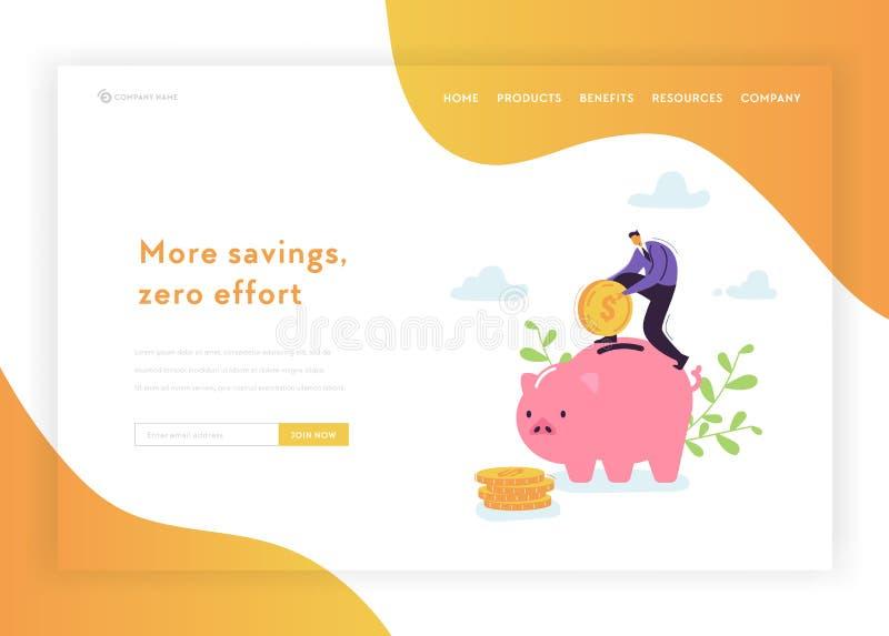 投资财政成长着陆页模板 平的商人字符攒钱向网站的存钱罐 向量例证