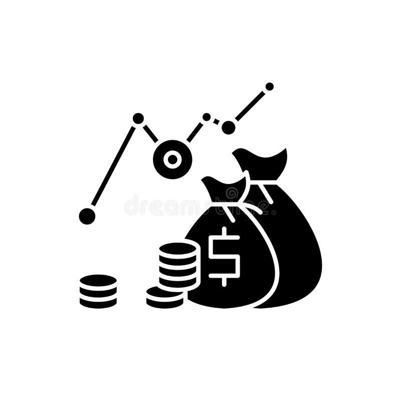 投资赢利黑色象,在被隔绝的背景的传染媒介标志 投资赢利概念标志,例证 库存例证