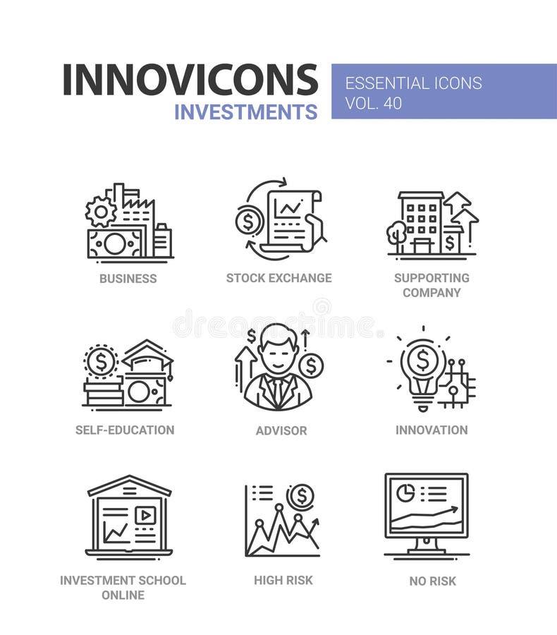 投资-现代传染媒介线被设置的设计象 向量例证