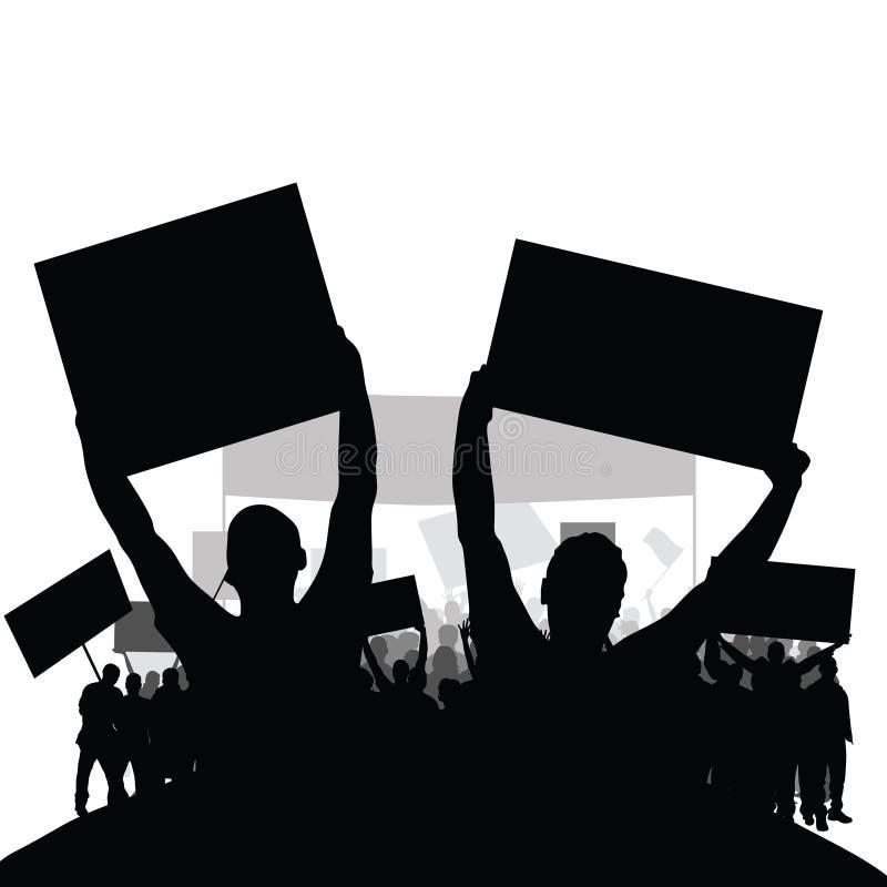 抗议人现出轮廓与小组的传染媒介在后面集合一 免版税库存图片