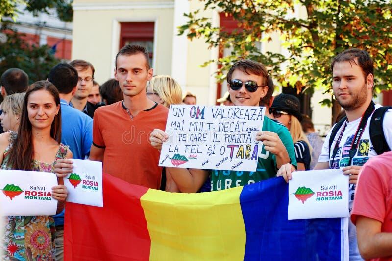 抗议在反对开掘在罗希亚蒙塔讷的氰化物金子的奥拉迪亚市在罗马尼亚 图库摄影