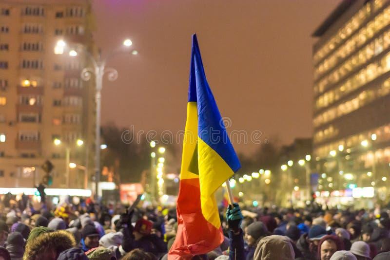 抗议在布加勒斯特 库存照片