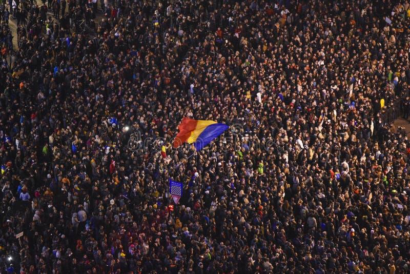 抗议在Colectiv受害者的布加勒斯特 免版税库存图片