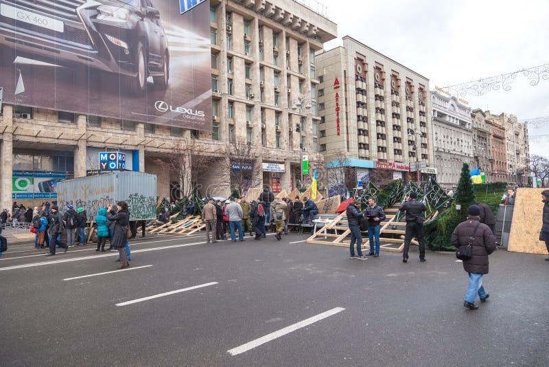 抗议在Euromaydan在基辅反对总统亚努科维奇 图库摄影