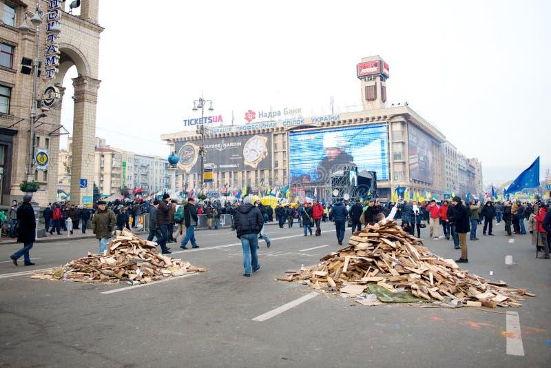 抗议在Euromaydan在基辅反对总统亚努科维奇 免版税库存照片