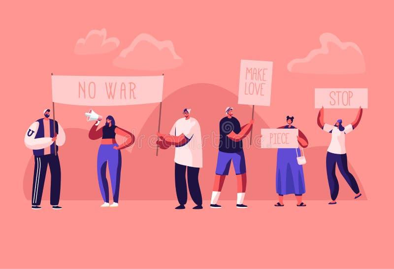 抗议有招贴的举行罢工的人和牌或示范,与横幅的男性,女性活动家字符和标志 向量例证
