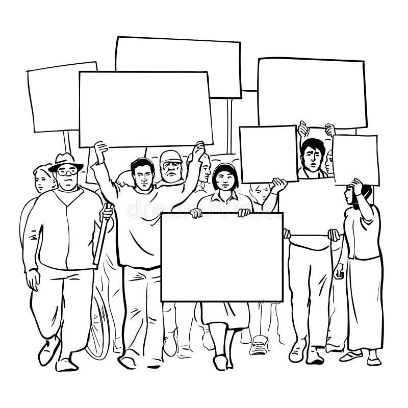 抗议有空白的标志的人 与空的横幅的人群 抗议手拉的剪影传染媒介的群众游行 向量例证