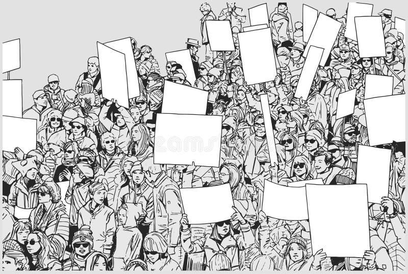 抗议的人群的例证用被举的手和空白的标志 库存例证