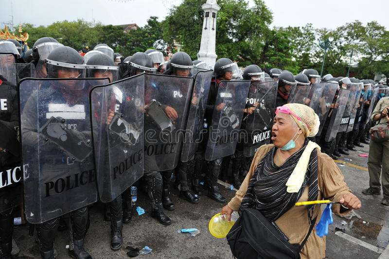 抗议者和警察 图库摄影