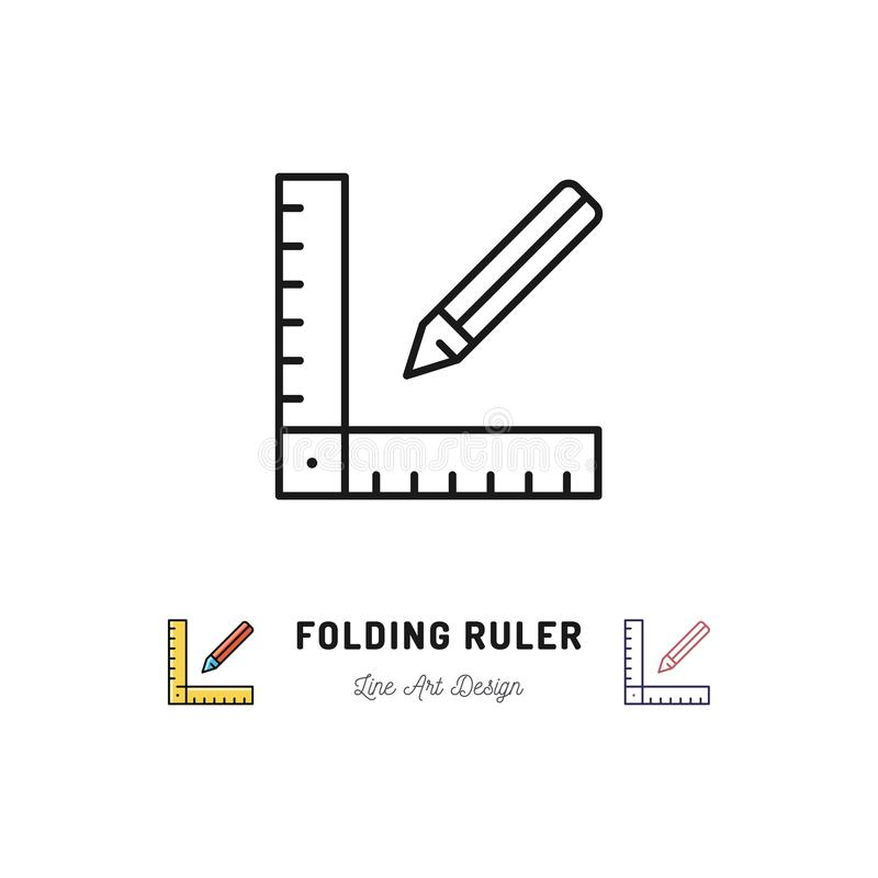 折尺象 统治者和铅笔稀薄的线艺术象 修理住宅建设工具 库存例证