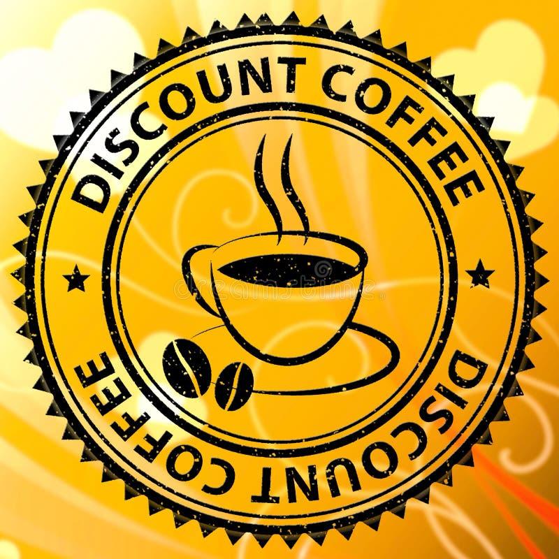 折扣咖啡代表交易或便宜的饮料 向量例证