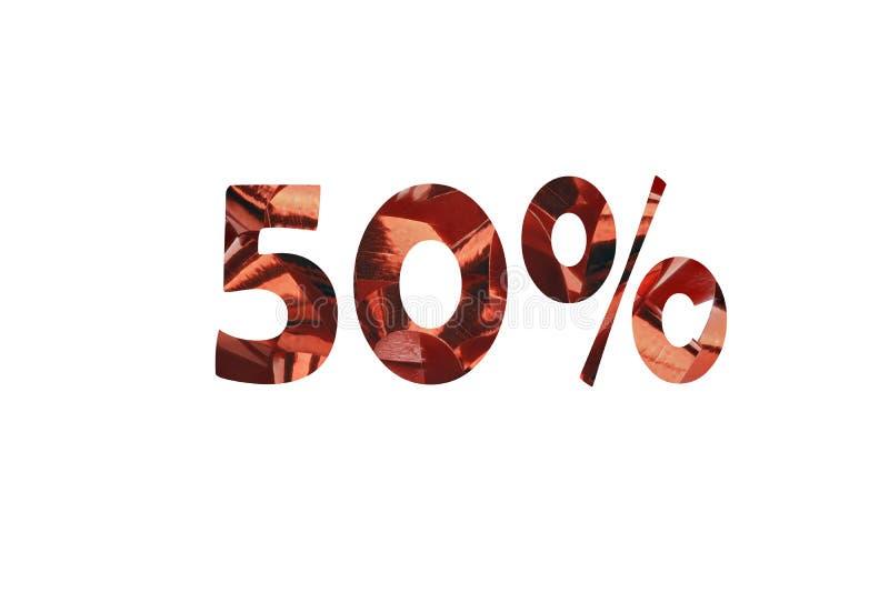 50%折扣的象征与被删去的第50和百分号的 免版税库存图片
