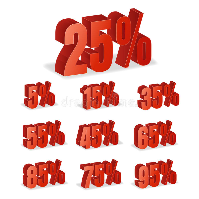 折扣编号3d传染媒介 在白色背景在3D样式的红色销售百分比象集合隔绝的 10%, 15和20 p 皇族释放例证