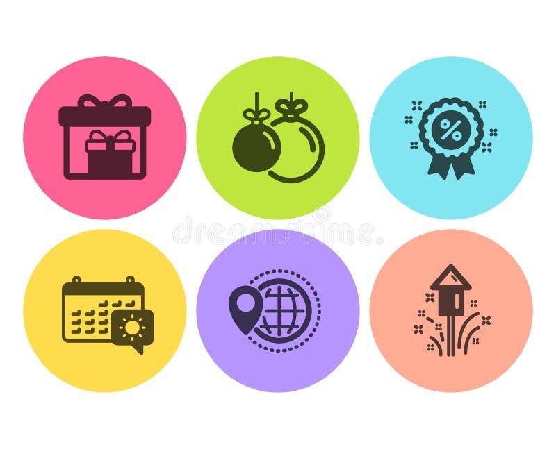 折扣,交付箱子和旅行日历象集合 世界旅行、圣诞节球和烟花标志 ?? 库存例证