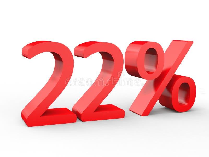22%折扣 在被隔绝的白色背景的红色3d数字 向量例证