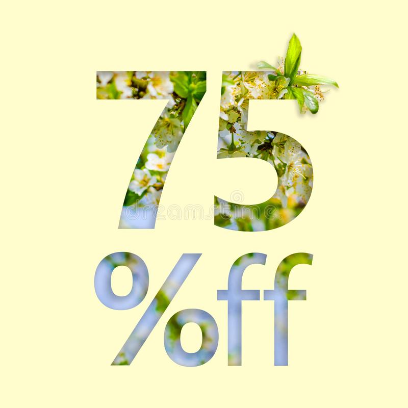75%折扣 春天销售,时髦的海报,横幅,促进,广告的概念 库存例证