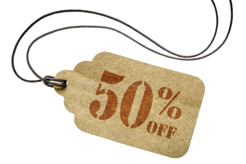 折扣-纸价牌的百分之五十 库存照片