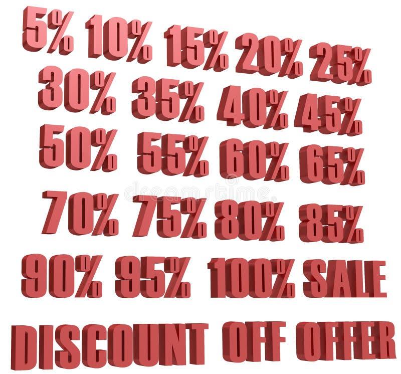 折扣d数字销售象集合打折价和销售设计模板购物和低价标志 库存例证