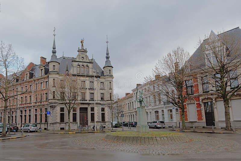 折衷新佛兰芒新生别墅的在Zurenborg区,安特卫普 库存照片