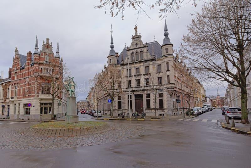 折衷新佛兰芒新生别墅的在Zurenborg区,安特卫普 库存图片