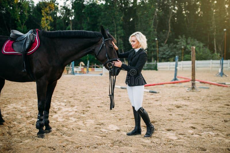 抚摸马的骑师制服的少妇 库存图片