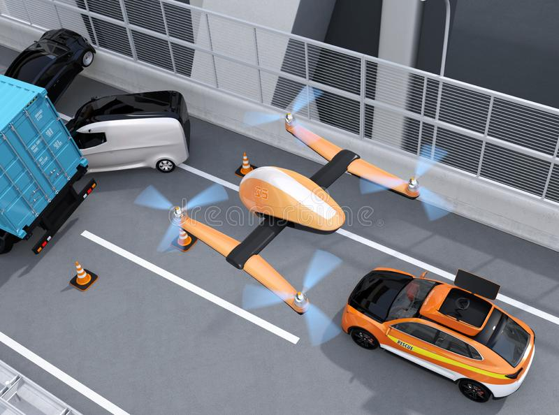 抢救从电抢救SUV的寄生虫飞行鸟瞰图对在高速公路的记录的交通事故 库存例证