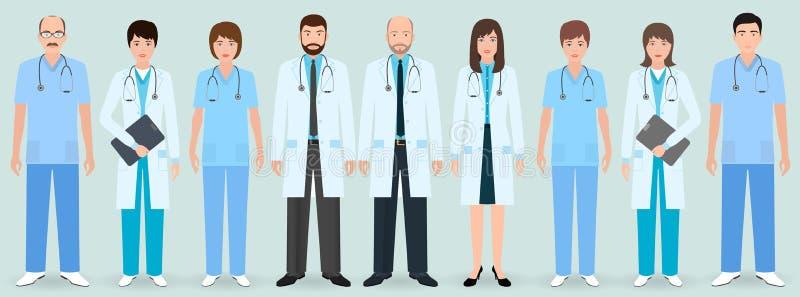 医护人员 小组九名男人和妇女医治并且护理 医疗人民 向量例证