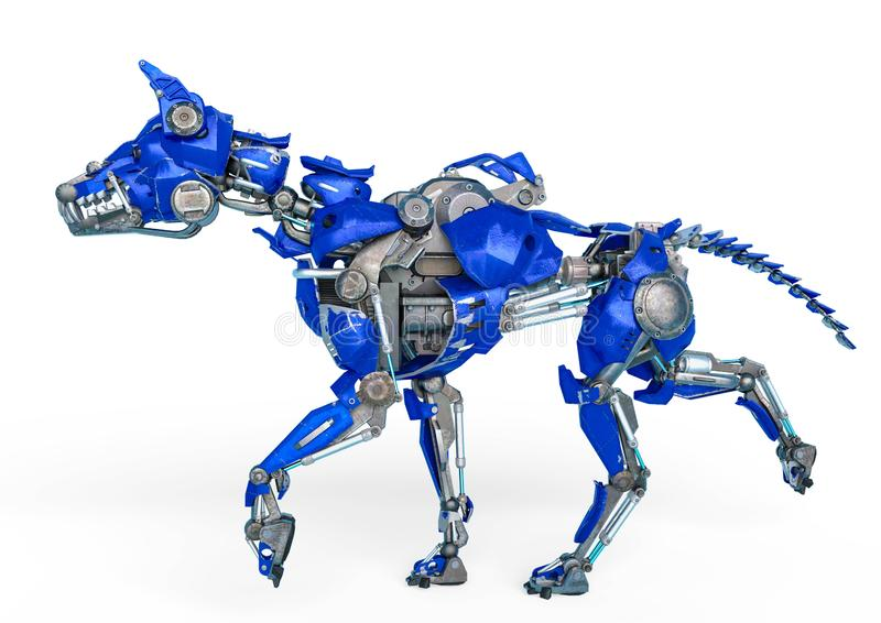 护卫犬机器人是一保障系统在白色背景中 向量例证