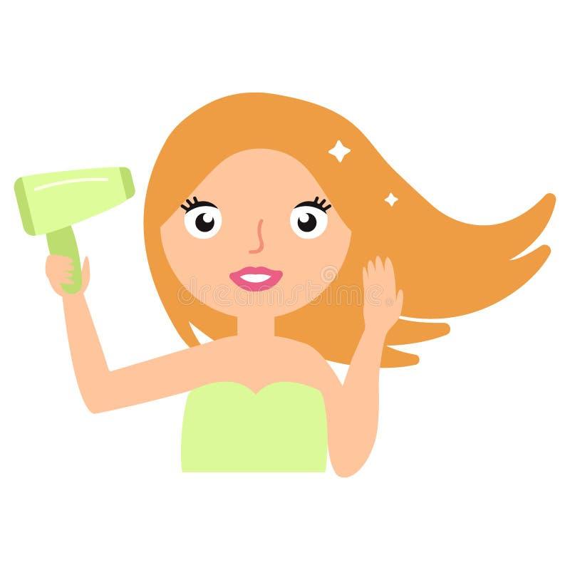 护发 烘干健康长的直发的美丽的微笑的妇女使用吹风器 向量 库存例证