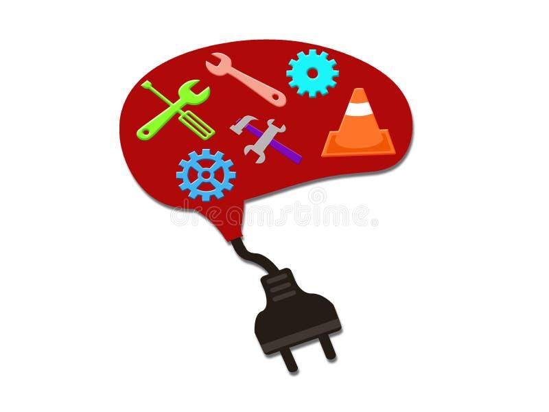 维护和修理工具和充电的插座脑子的 库存例证