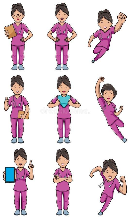 护士亚洲女性集合 向量例证