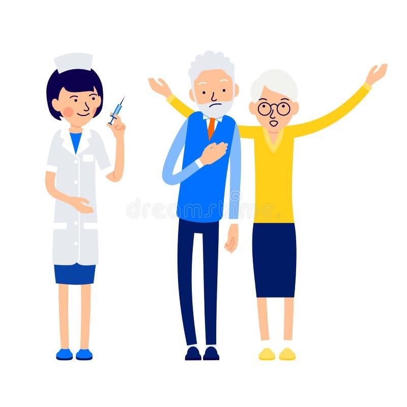 护士准备好注射 年长人不适并且感觉b 向量例证
