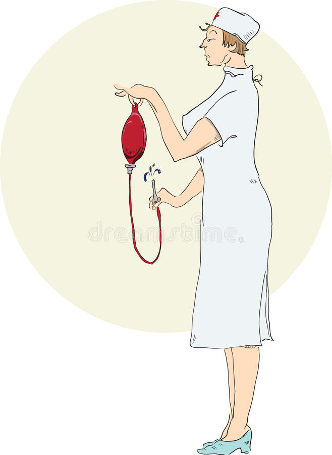 护士准备灌肠 库存例证