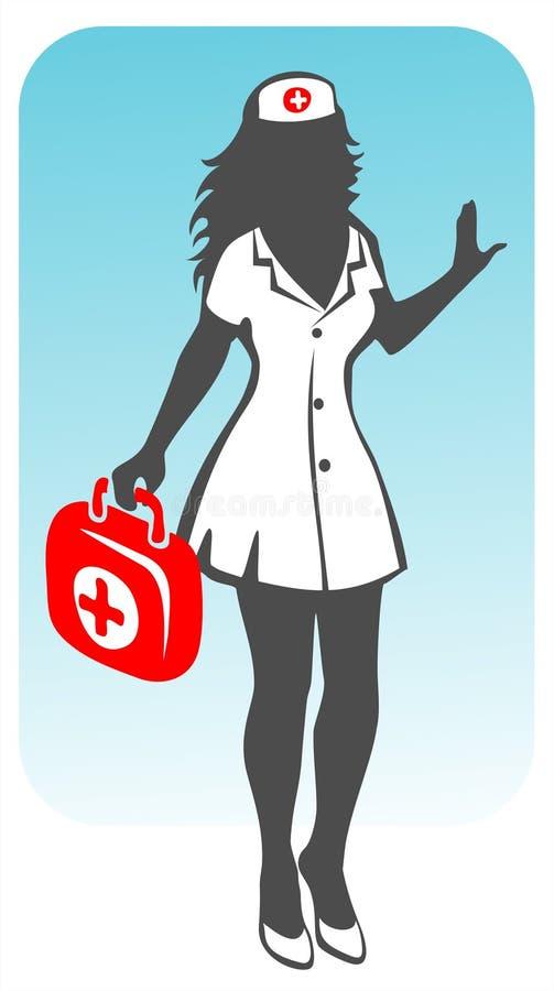 护士剪影 库存例证