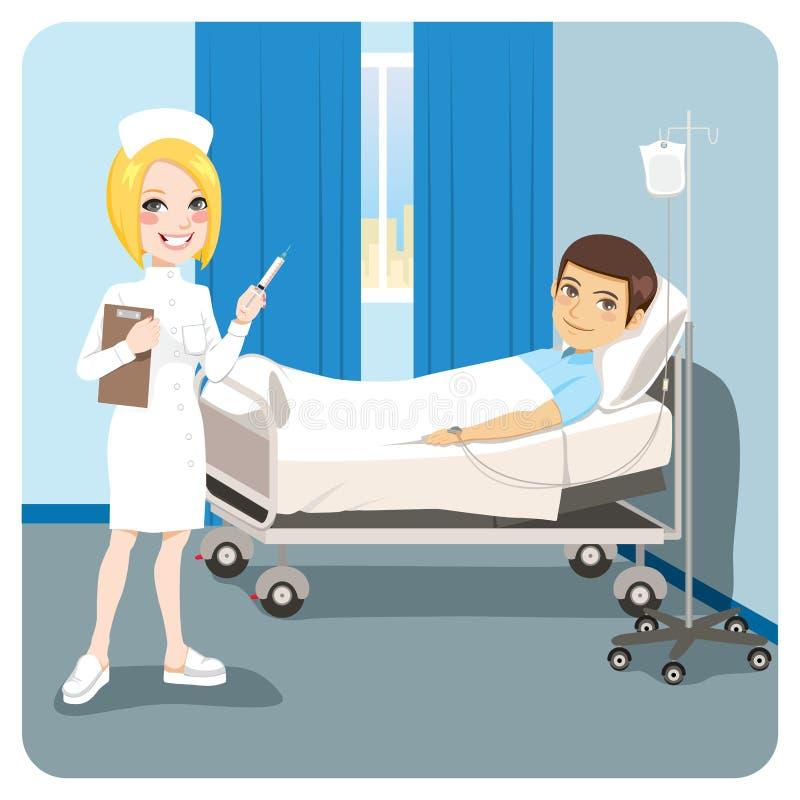 护士医院人不适的床 皇族释放例证