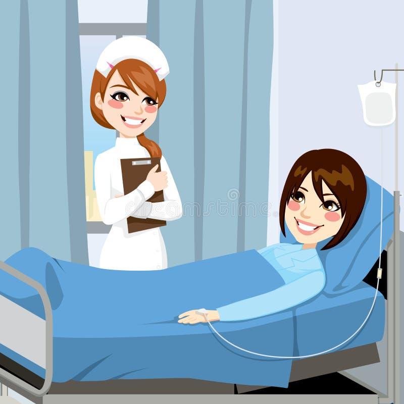 护士和妇女患者 皇族释放例证