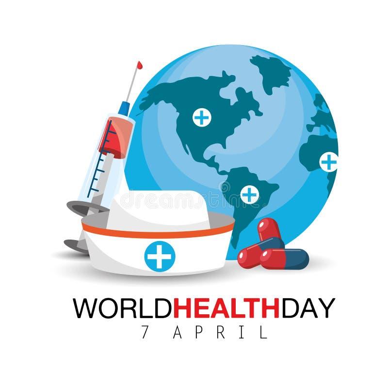 护士帽子和注射器对世界卫生日 向量例证