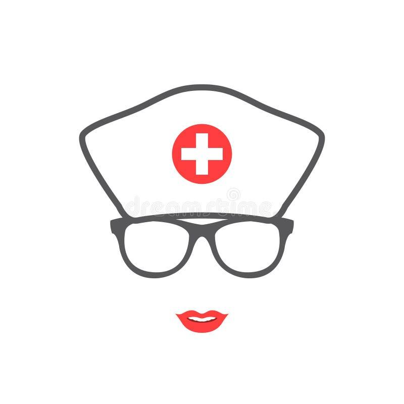 护士画象剪影 黑色更改图标肝脏医疗保护白色 向量例证